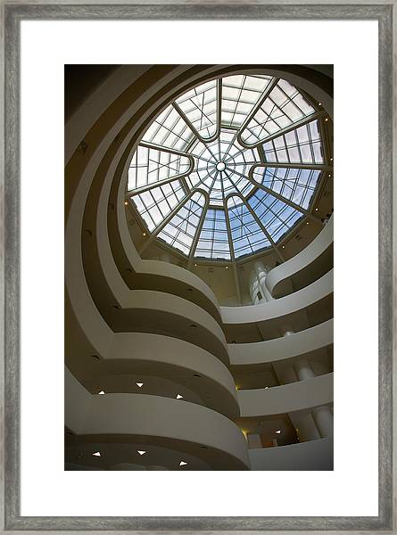 Interior Atrium With Spiral Ramp And Framed Print