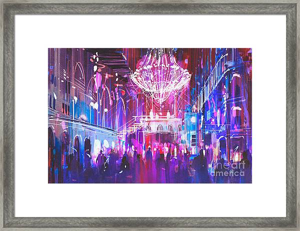 Interior Night Club With Bright Framed Print