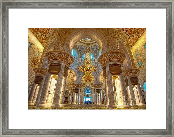 Interior Of Shiekh Zayed Mosque Framed Print