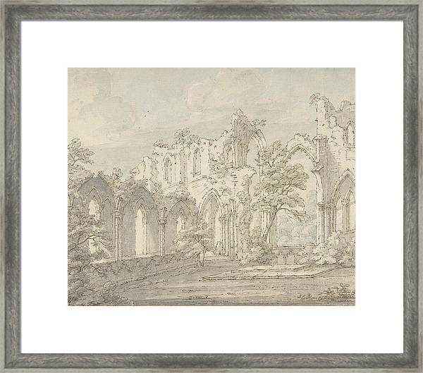 Interior View Of Fountains Abbey, Yorkshire Framed Print