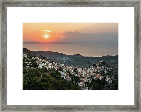 Framed Print featuring the photograph Ioulis Town Sunset, Kea by Milan Ljubisavljevic