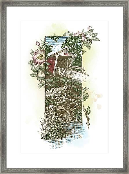 Framed Print featuring the drawing Iowa Covered Bridge by Clint Hansen