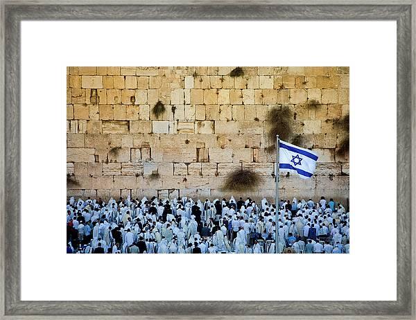 Israeli Flag Flies At The Western Wall Framed Print by Gary S Chapman