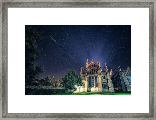 Iss Over Ely Cathedral Framed Print