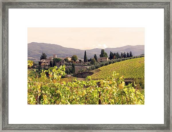 Italian Village And Vineyard In Fall Framed Print