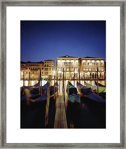 Italy, Veneto, Venice, Row Of Gondolas Framed Print