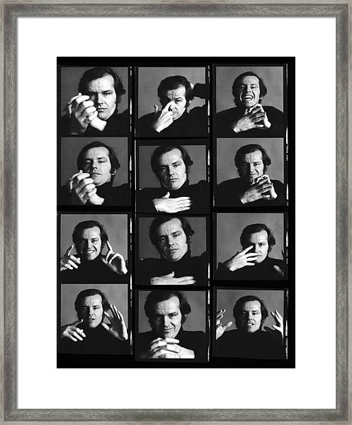 Jack Nicholson Contact Sheet Framed Print