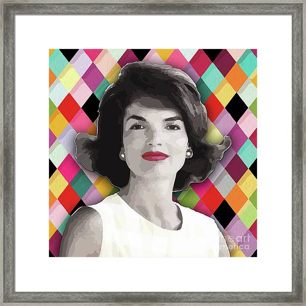 Framed Print featuring the painting Jackie Geometric by Carla B