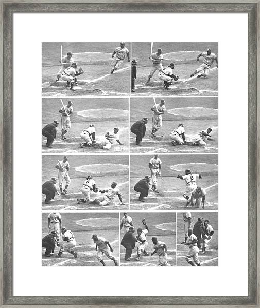 Jackie Robinson, With Two Out In The Framed Print