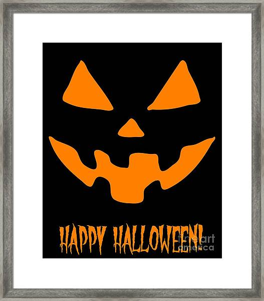Jackolantern Happy Halloween Pumpkin Framed Print
