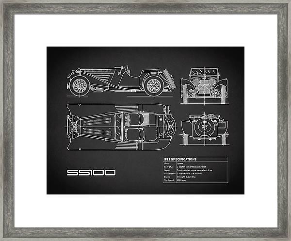 Jaguar Ss 100 Blueprint - Black Framed Print