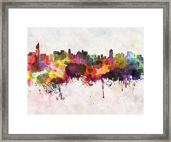 Jakarta Skyline In Watercolor Background Framed Print by Cristina Romero Palma