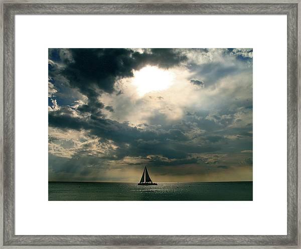 Jamaica Sailboat Sun Framed Print