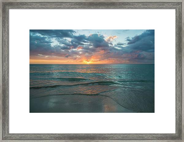 Jamaica, Sunset Over Sea Framed Print