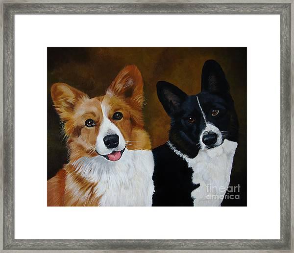 James And Joy Custom Portrait Painting Framed Print
