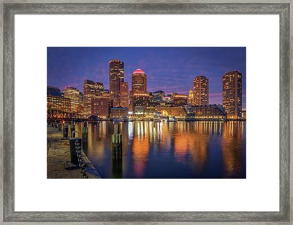 January Sunset At Fan Pier Framed Print