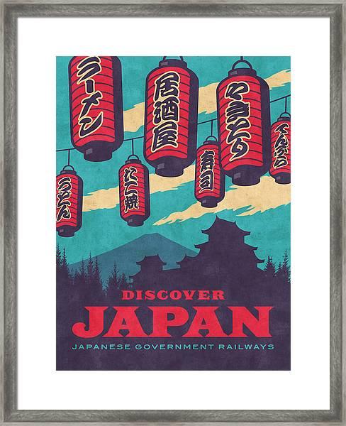 Japan Travel Tourism With Japanese Castle, Mt Fuji, Lanterns Retro Vintage - Blue Framed Print