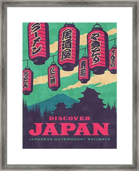 Japan Travel Tourism With Japanese Castle, Mt Fuji, Lanterns Retro Vintage - Green Framed Print