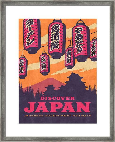 Japan Travel Tourism With Japanese Castle, Mt Fuji, Lanterns Retro Vintage - Orange Framed Print