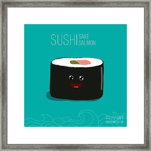 Japanese Food - Sushi. Vector Cartoon Framed Print