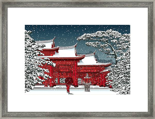 Japanese Or Chinese Temple Under Snow - Framed Print