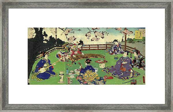 Japanese Triptych Woodblock Cherry Framed Print