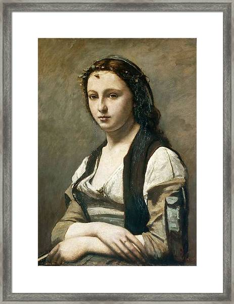 Jean-baptiste-camille Corot French, 1796-1875,  Woman With A Pearl Ca. 1858-68 Framed Print