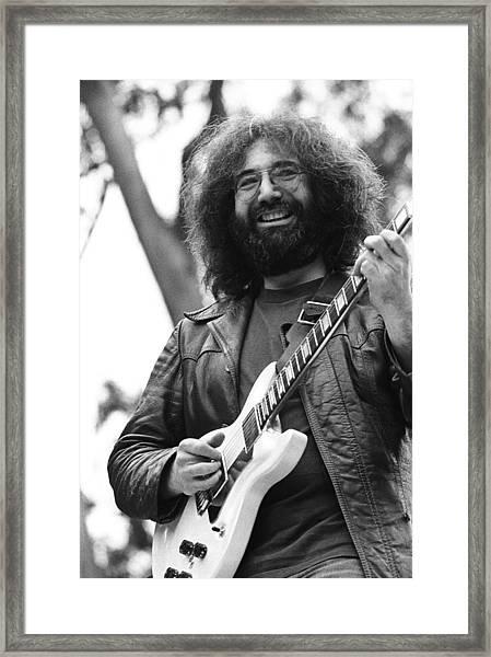 Jerry Garcia Performs Live Framed Print