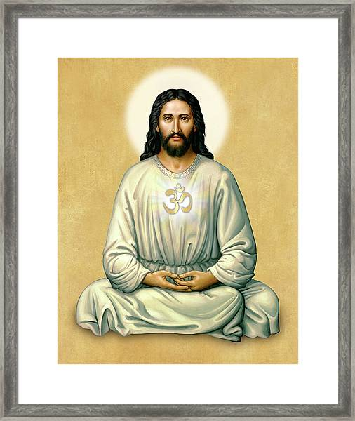 Jesus Meditating - The Christ Of India - On Gold With Om Framed Print