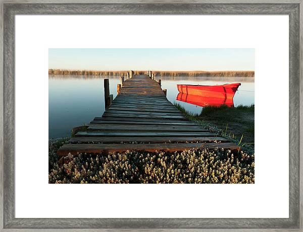 Jetty And Red Boat, Velddrif, Western Framed Print