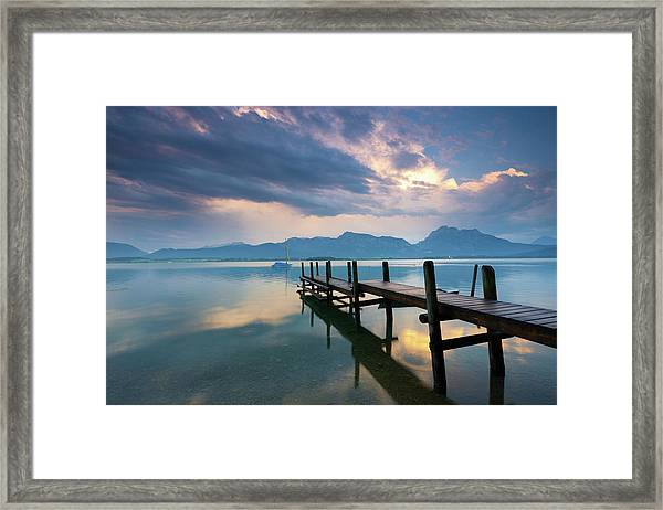 Jetty At Lake Forggensee After A Framed Print