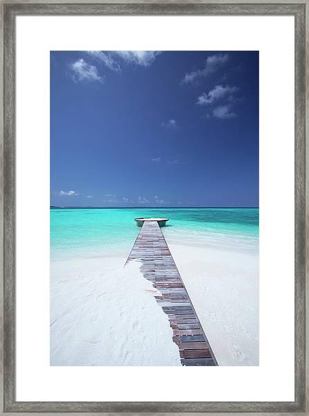 Jetty Leading To Ocean, Maldives Framed Print