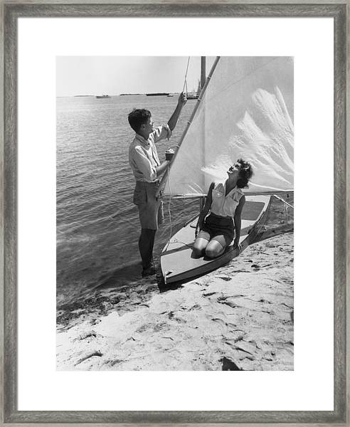 Jfk Sailing Framed Print