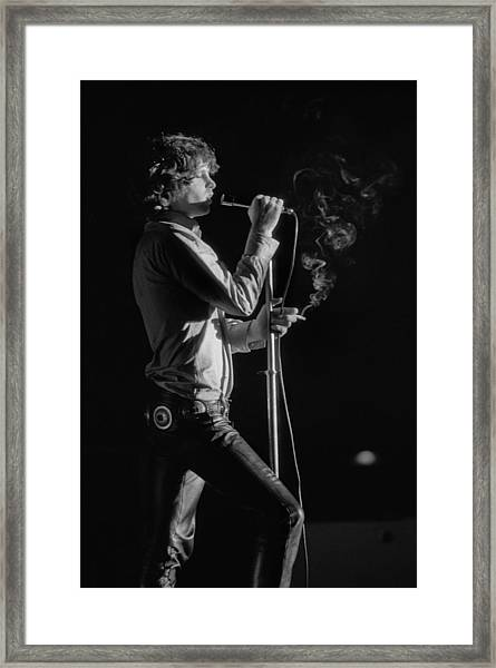 Jim Morrison Live Framed Print by Michael Ochs Archives