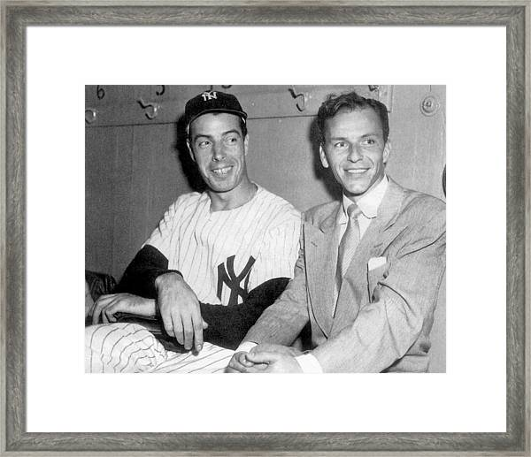 Joe Dimaggio And Frank Sinatra At Framed Print