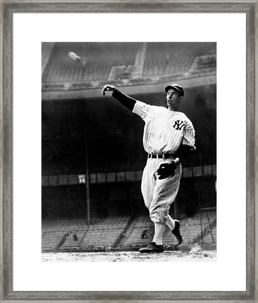 Joe Dimaggio Working Out At Yankee Framed Print