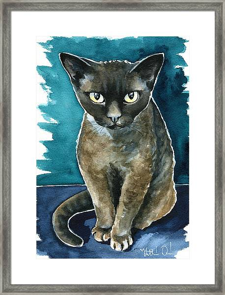 Joey - Devon Rex Cat Painting Framed Print