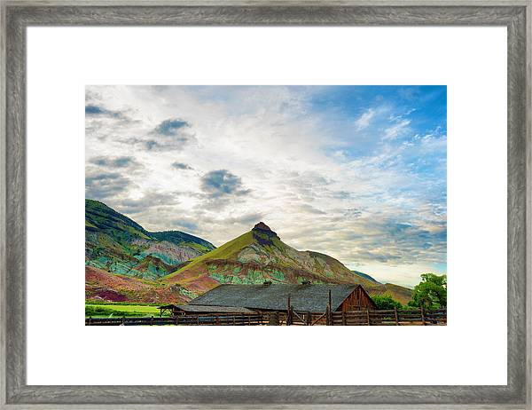Framed Print featuring the photograph John Day Sheep Rock by Dee Browning