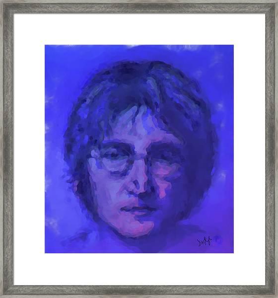 John Lennon Study In Blue Framed Print
