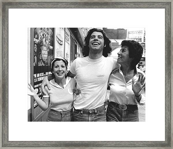 John Travolta And His Sisters Ellen And Framed Print