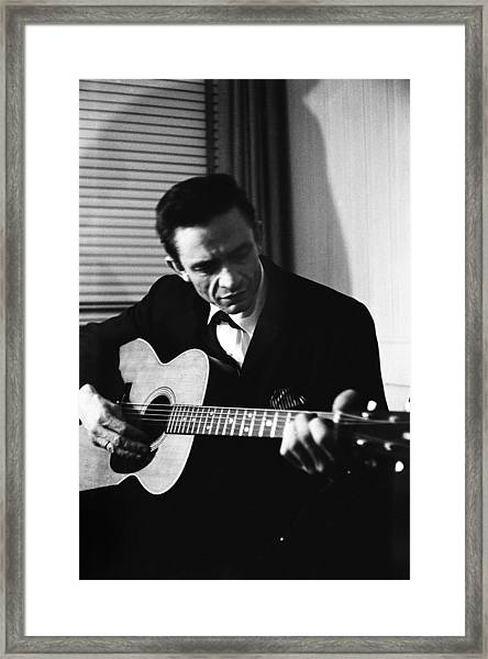 Johnny Cash At The New York Folk Framed Print