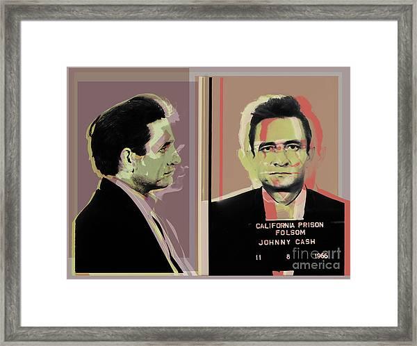 Johnny Cash Mugshot Pop Art Warhol Style Framed Print
