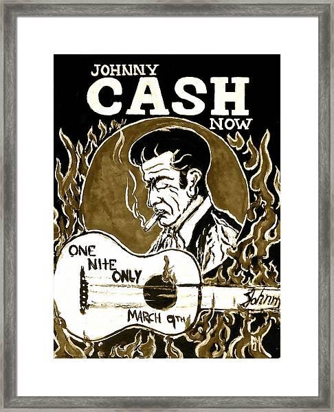 Johnny Cash Vintage Poster  Framed Print