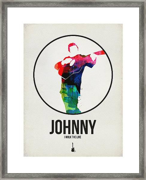 Johnny Cash Watercolor Framed Print