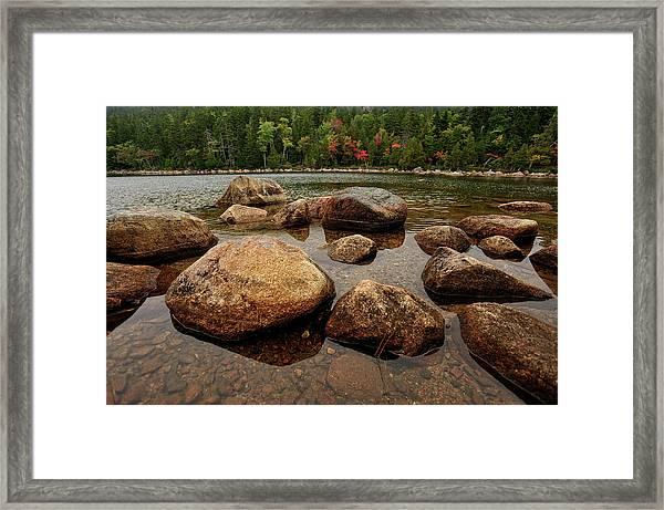 Jordon Pond Boulders Framed Print