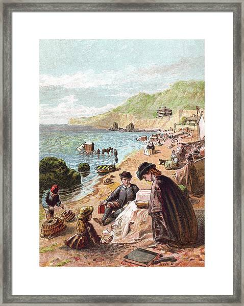 July - Victorians At The Seaside Framed Print by Whitemay