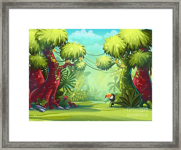 Jungle Vector Illustration Toucan Framed Print