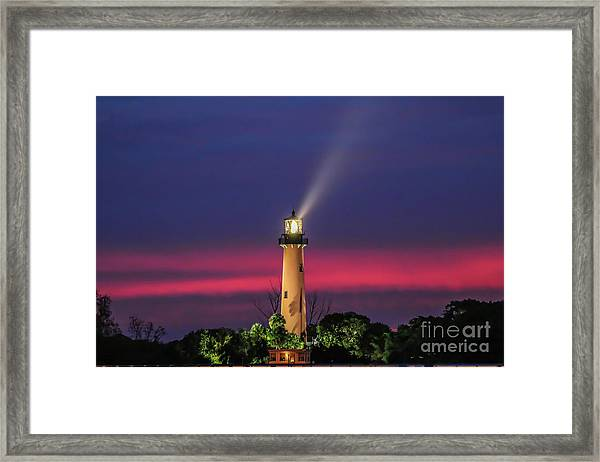Framed Print featuring the photograph Jupiter Light Beam by Tom Claud