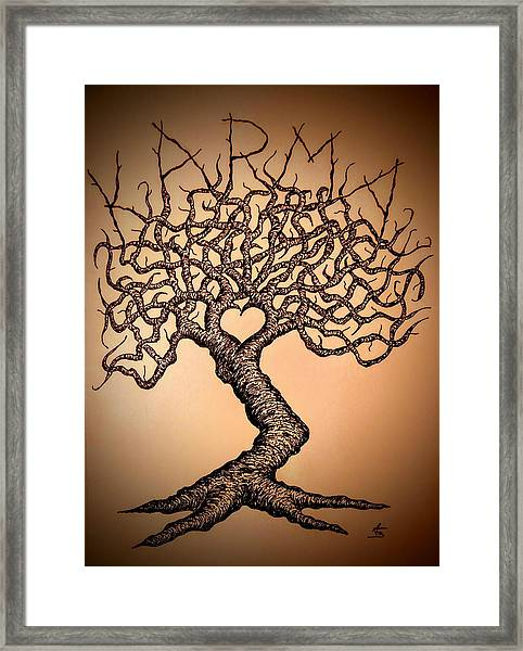Framed Print featuring the drawing Karma Love Tree by Aaron Bombalicki