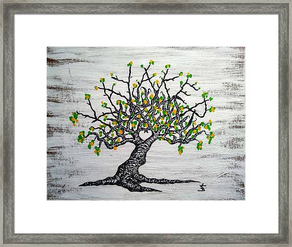 Framed Print featuring the drawing Kayaker Love Tree Art by Aaron Bombalicki